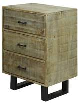 Stylecraft Solid Mango Wood 2 Door Storage Cabinet with Scored Finish and Metal Hardware On Metal Legs - Grey Wash