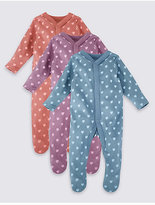 Marks and Spencer 3 Pack Pure Cotton Heart Sleepsuits