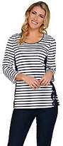 Denim & Co. Striped 3/4 Sleeve Scoop Neck Topw/ Lace Detail
