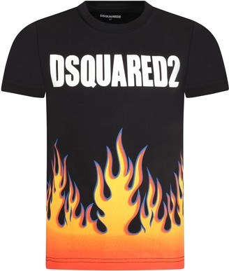 DSQUARED2 Black T-shirt For Boy With Flames
