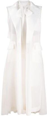 Sacai Layered-Lapel Organza Dress
