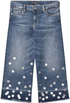 GUESS Mid Wash Denim Culottes with Silver Spots