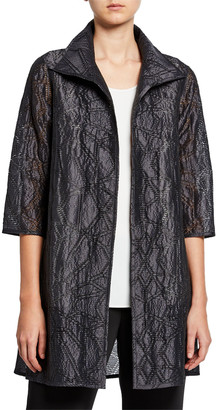Caroline Rose Equinox Geometric Jacquard 3/4-Sleeve Topper Jacket