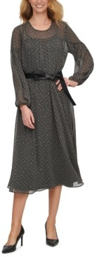 Calvin Klein Printed Midi Dress With Faux-Leather Belt