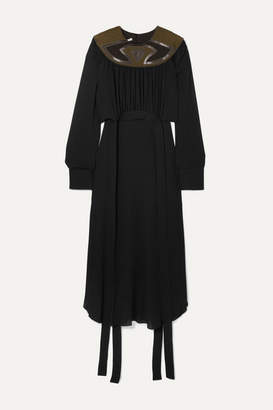 Stella McCartney + Net Sustain Vegetarian Leather And Faux Suede-trimmed Crepe Dress - Black
