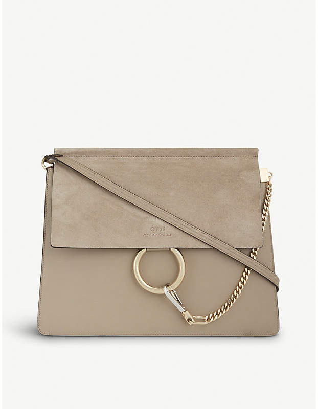 Chloé Faye leather and suede satchel