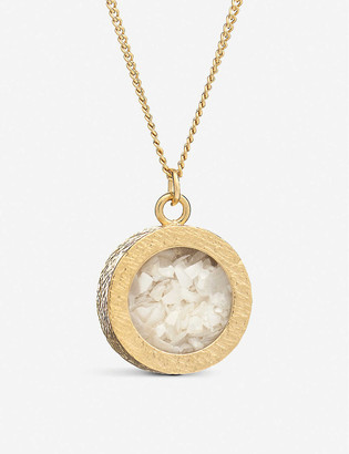 Rachel Jackson Birthstone Amulet June pearl and 22ct gold-plated sterling silver necklace