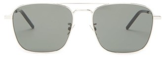 Saint Laurent Aviator Metal Sunglasses - Womens - Black Silver