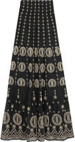 Alice + Olivia Lysa Embroidered Cotton-voile Maxi Skirt - Black