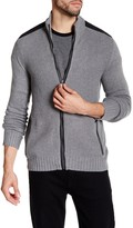 Kenneth Cole New York Ribbed Knit Full Zip Contrast Trim Sweater