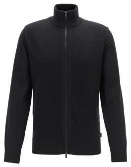 HUGO BOSS Regular Fit Virgin Wool Cardigan With Structured Panel - Black