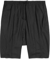 Abasi Rosborough Kyoto Black Dropped-crotch Wool Shorts