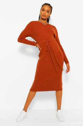 boohoo Drawstring Rib Knit Midi Dress