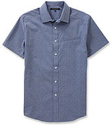 Vince Camuto Short-Sleeve Dobby Pattern Woven Shirt