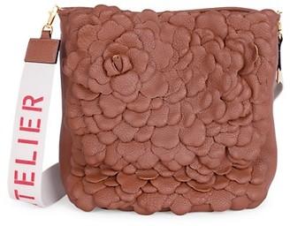 Valentino Atelier Rose Leather Hobo Bag