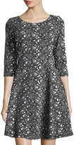 Taylor 3/4-Sleeve Floral-Print Jacquard Dress, Black/White
