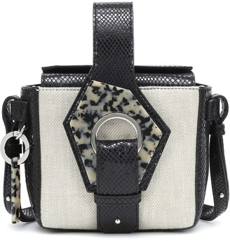 Ganni Croc-effect leather and canvas tote