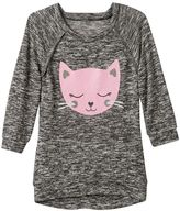 Miss Chievous Girls 7-16 & Plus Size Hatchi Raglan Glitter Graphic Top
