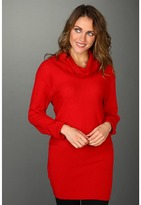 BCBGMAXAZRIA Cashmere Cowl Neck Tunic Sweater (New Red) - Apparel