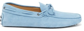 Tod's Gommino Suede Driving Shoes - Mens - Light Blue