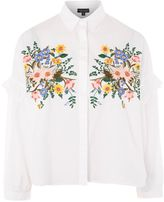 Topshop PETITE Floral Embroidered Shirt