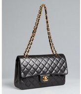 black quilted lambskin double flap chain handle bag