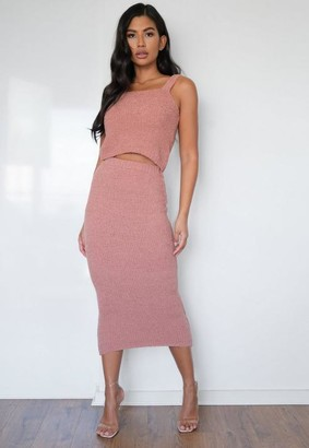 Missguided Rose Popcorn Knit Midaxi Skirt