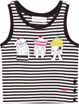 Sonia Rykiel Black and White Stripe Cat Print Vest