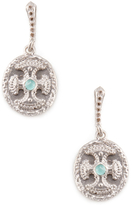 Armenta New World Sterling Silver, Turquoise, White Quartz & 0.05 Total Ct. Diamond Gothic Cross Earrings