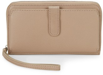 Saks Fifth Avenue Pebbled Leather Zip-Around Long Wallet