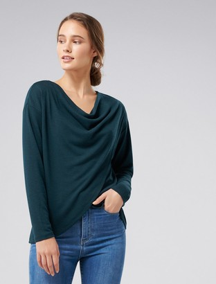 Forever New Heather Cowl Neck Top - Teal - xxs