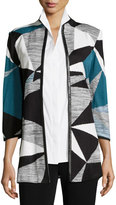 Misook Colorblock Jacket W/ Faux-Leather-Trim, Teal/Black/Ivory