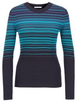 HUGO BOSS Crew Neck Sweater With Colorful Stripes And Metalized Fibers - Patterned