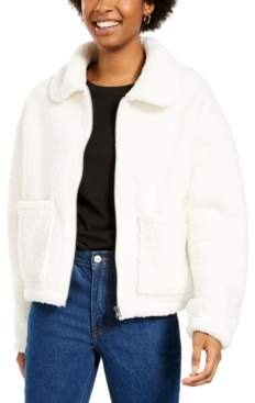 PINK ROSE Juniors' Zip-Front Sherpa Jacket