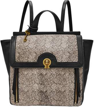 Fossil Amelia Calf Hair-Trim Leather Backpack