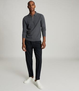 Reiss Fern - Cotton Zip Neck Polo Shirt in Airforce Blue