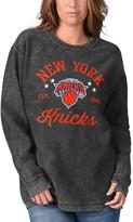 G Iii Women's G-III Sports by Carl Banks Black New York Knicks Slouchy Comfy Cord Crewneck Pullover Sweatshirt