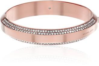 Michael Kors Pave Logo Hinged Rose Gold Tone Bangle Bracelet