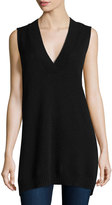 Neiman Marcus Cashmere Sleeveless Oversized Tunic, Black