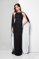 Terani Evening - Crystal Adorned Sheath Gown with Cape Detail 1711E3179