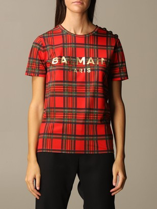 Balmain Tartan T-shirt With Logo And Buttons