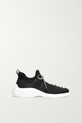 Prada Logo-jacquard Stretch-knit Sneakers - Black