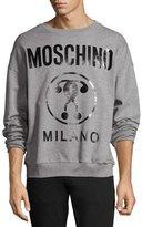 Moschino Coated Double Question Mark Logo Sweatshirt, Gray