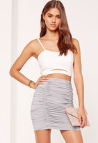 Missguided Grey Ruched Front slinky Mini Skirt