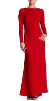 Tadashi Shoji Long Sleeve Drape Back Gown