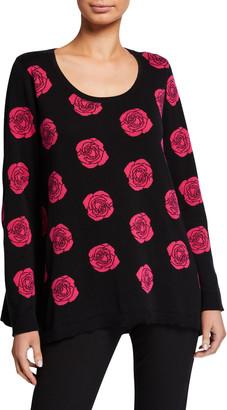 Joan Vass Petite Falling Rose Intarsia Cotton Sweater