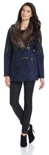 Jessica Simpson Women's Faux Leather with Fur Collar