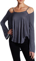 Anama Burnout Knit Cutout Long Sleeve Tee