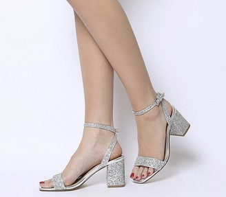 Office Millions Square Toe Two Part Heels Silver Glitter