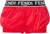 Fendi Roma Shell And Stretch-jersey Shorts - Red